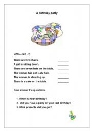 English Worksheet: A birthday Party: Movers Practice