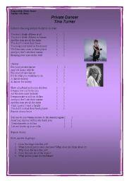 English Worksheet: song Private Dancer - Tina Turner