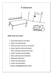 English Worksheet: Starters/movers: A classroom