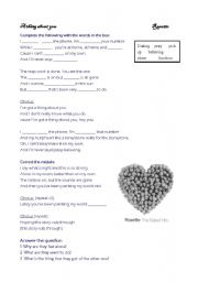 English Worksheet: A thing about you - Roxette