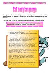 English Worksheet: Cat body language