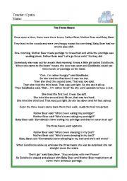English Worksheets: The three bears