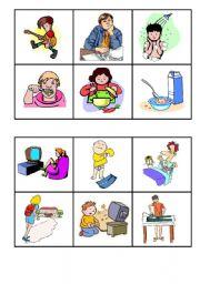 English Worksheet: bingo everyday actions