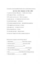 English Worksheets: conjuctions
