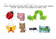 English Worksheets: Activity about the movie BUG�S LIFE
