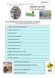 English worksheet: The Loch Ness monster (webquest)