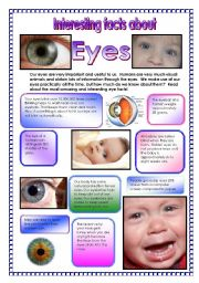 English Worksheets: Interesting facts about eyes! - did you know that your eyes blink over 10,000,000 times a year! , etc...