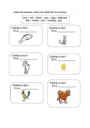 English Worksheets: What is this   - animals