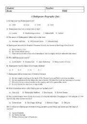 English Worksheets: Shakspeare