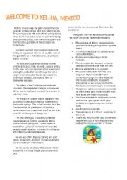 English Worksheet: Welcome to Hel-Ha Mexico