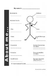 English Worksheet: ice breaker - about me
