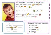 English Worksheets: Reading about likes, dislikes, food vocabulary 14-08-08