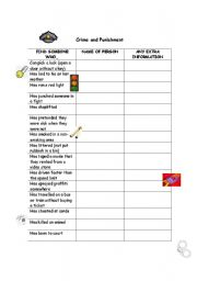 English Worksheet: Crime and Punishment Find Someone Who...