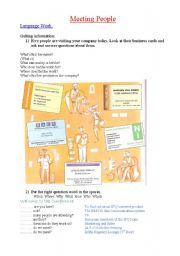 English Worksheet: Meeting People- language work