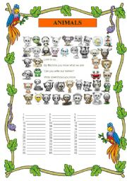 English Worksheets: ANIMALS (15-08-2008)