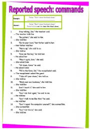 English Worksheet: Reported speech commands. GRAMMAR WORKSHEET 29