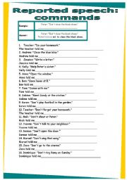 English Worksheets: Reported speech commands. WORKSHEET 30
