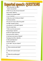 English Worksheets: Reported speech: questions. GRAMMAR WORKSHEET 31