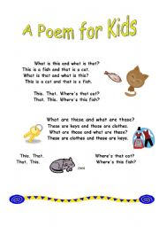 English Worksheet: Poem for kids