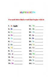 English worksheet: Alphabets