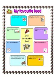 English Worksheet: My favourite food template for compostion 15.08.08
