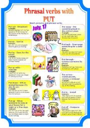 English Worksheet: Phrasal verbs with PUT (2 pages)