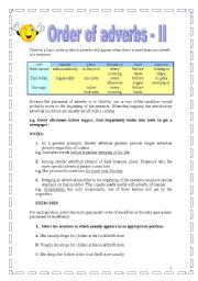 English Worksheet: Order of adverbs -part II (17.08.08)