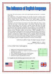 English Worksheet: The influence of English language - text (17.08.08)