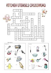 English Worksheet: Kitchen Utensils Crossword