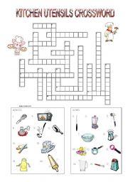 kitchen utensils crossword esl worksheet by mimika. Black Bedroom Furniture Sets. Home Design Ideas