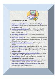 English Worksheets: Useful ESL websites for Teachers