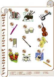 English Worksheet: Music Picture Vocabulary (1/2)