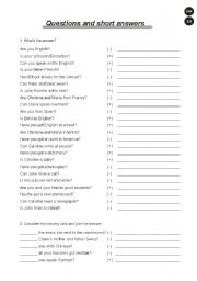 English Worksheets: Questions and short answers