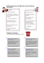 English Worksheet: Telephone messages and conversation