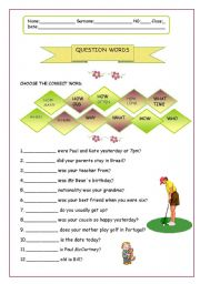 English Worksheets: Question words  17.08.08