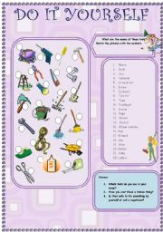English Worksheet: do it yourself (tools that you use at home) 17.08.08