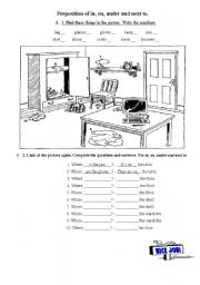 English Worksheet: preposition of in, on, under and next to