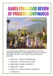 English Worksheet: PART THREE GAME FOR PRESENT CONTINUOUS