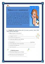 English Worksheets: Rebecca�s weekend (18.08.08)