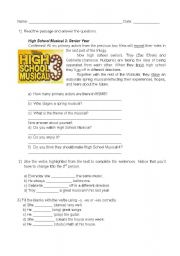 English Worksheets: High School Musical 3 (HSM3) simple present
