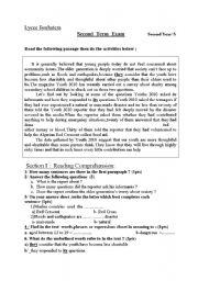 English Worksheets: 2nd yearExam