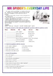 English Worksheets: Mr Spider�s everyday life