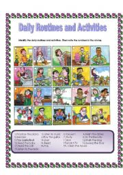 English Worksheet: Daily routines and activities- Label the pictures + ANSWER KEY(18.08.08) -PART 1