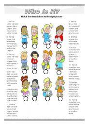 English Worksheet: Easy description of children