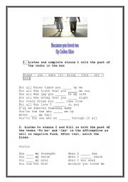 English Worksheets: Song: Because you loved me