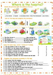English Worksheet: City places, prepositions of place