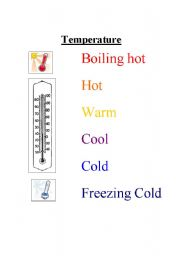 English Worksheet: Temperature Vocabulary Sheet for Molecular Motion Lesson