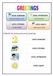 English Greetings Worksheets