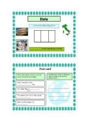 English Worksheet: Post card activity-  Italy (Part 1) 18.08.08
