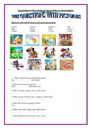 English Worksheets: wh questions with pictures
